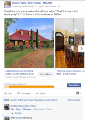 Facebook-Ad-Views-for-individual-property-advertisement-taregeting people who live in a cuburb